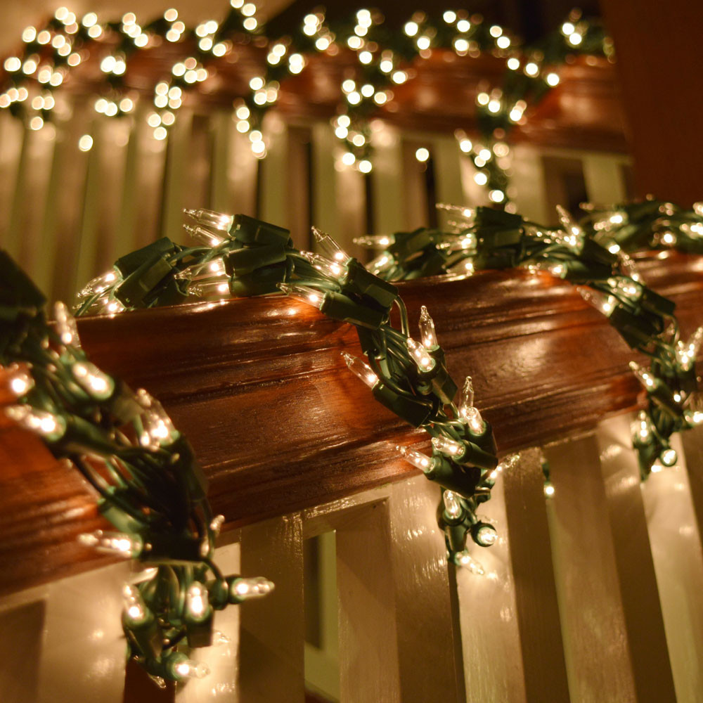 Outdoor Christmas Garland With Lights  600 Clear Light Cluster Garland String Light Set Green Wire