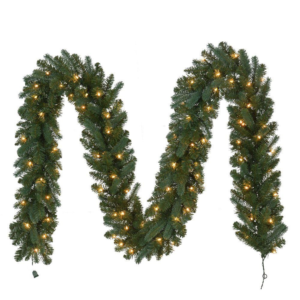Outdoor Christmas Garland With Lights  12 ft Pre Lit Fairwood Garland x 340 Tips with 100 UL