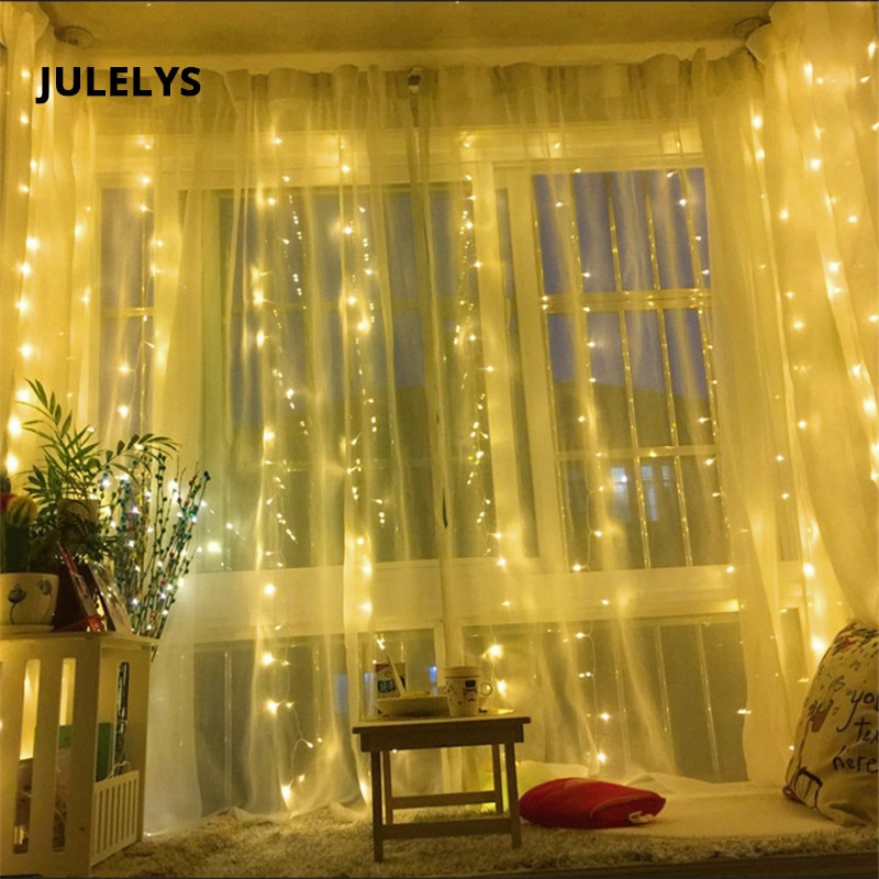 Outdoor Christmas Garland With Lights  JULELYS 6M x 3M 600 Bulbs Outdoor Garland LED Curtain