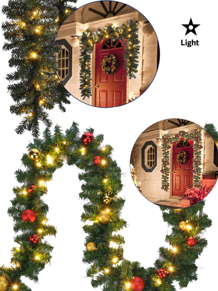 Outdoor Christmas Garland With Lights  2 7m 5m Pre Lit Christmas Garland Decoration Baubles