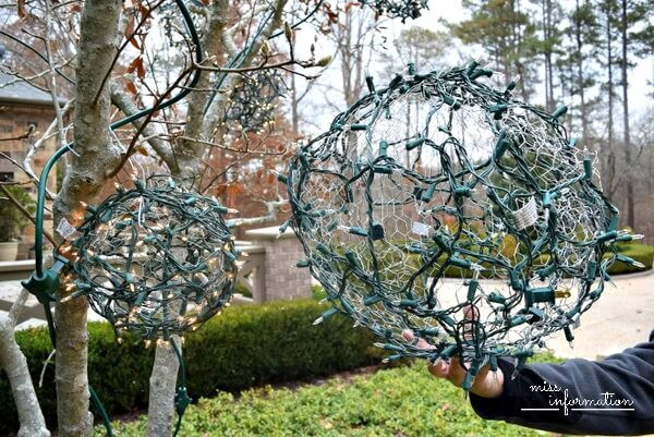 Outdoor Christmas Light Balls  DIY Outdoor Christmas Ornaments