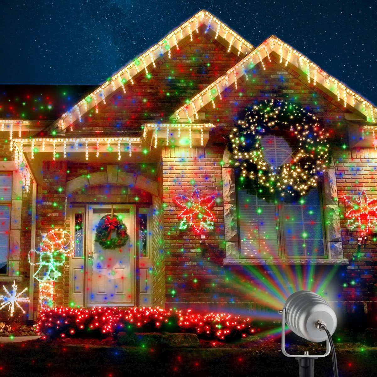 Outdoor Christmas Light Projector  Outdoor Christmas Laser Projector Motion Lights $53 99