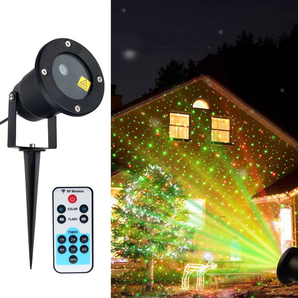 Outdoor Christmas Light Projector  Waterproof Outdoor Xmas R&G Lawn Garden Laser Star