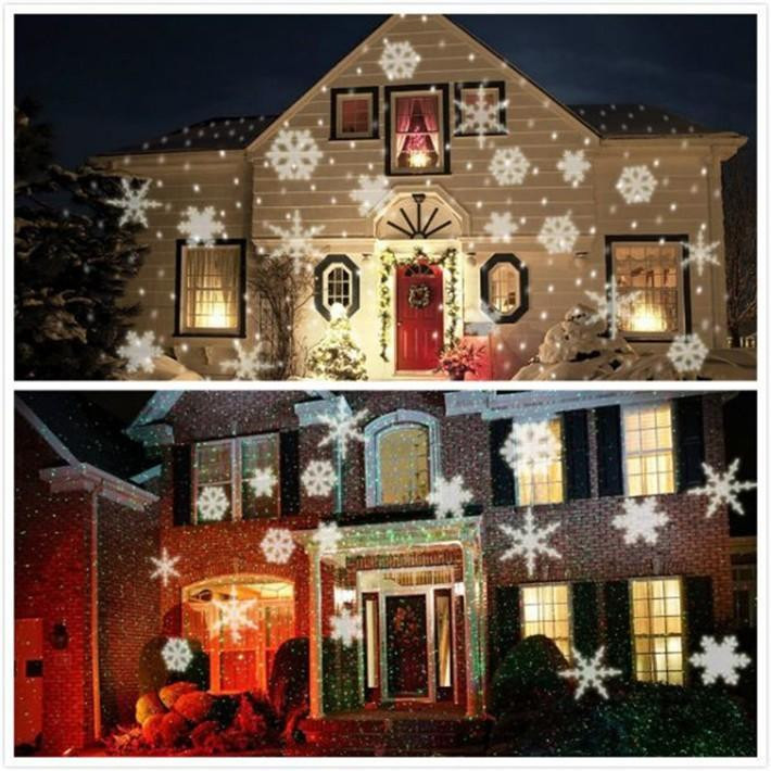 Outdoor Christmas Light Projector  White Snowflake Projector Waterproof Outdoor Christmas