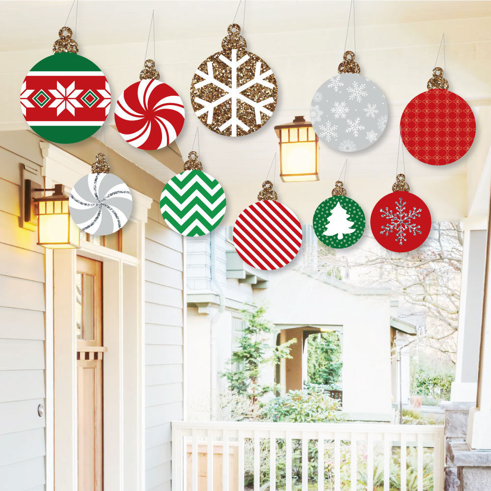 Outdoor Christmas Ornaments  Hanging Ornaments Outdoor Christmas Porch & Tree Yard