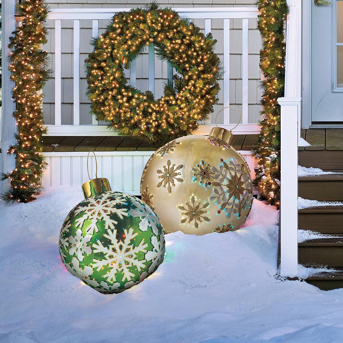Outdoor Christmas Ornaments  Massive Fiber Optic LED Outdoor Christmas Ornaments The