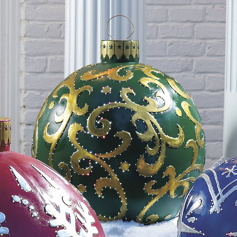 Outdoor Christmas Ornaments  Massive Outdoor Lighted Christmas Ornaments The Green Head