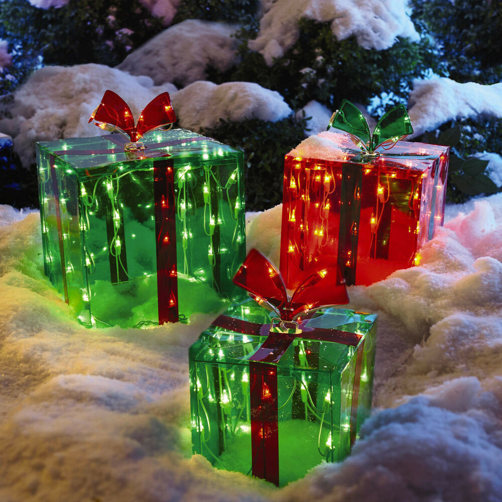 Outdoor Christmas Ornaments  3 Lighted Gift Boxes Christmas Decoration Yard Decor 150