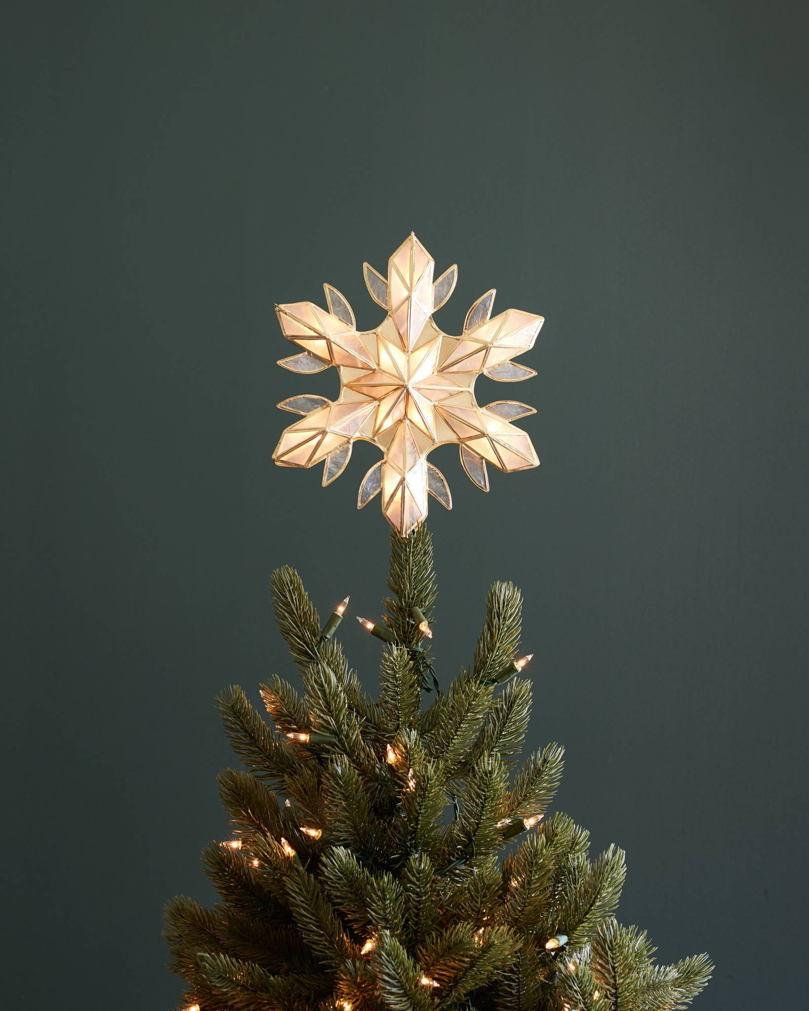 Outdoor Christmas Tree Topper  Capiz Snowflake Lighted Tree Topper