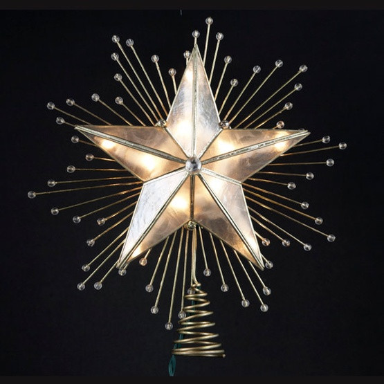 "Outdoor Christmas Tree Topper  Christmas Decorations 10"" Lighted Capiz Star Tree Topper"