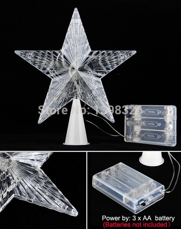 Outdoor Christmas Tree Topper  Colorful 10 LED Indoor Outdoor Christmas Tree Topper Star