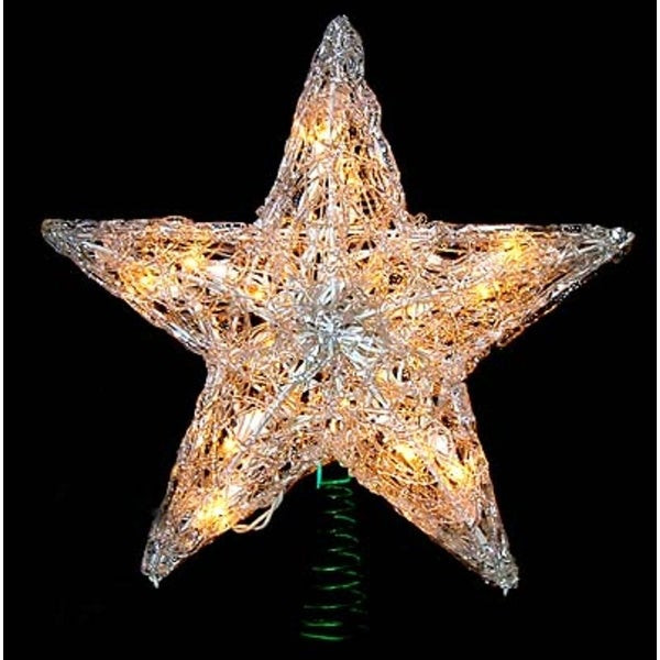 "Outdoor Christmas Tree Topper  Shop 12"" Lighted Snowy Crystal Style Star Christmas Tree"