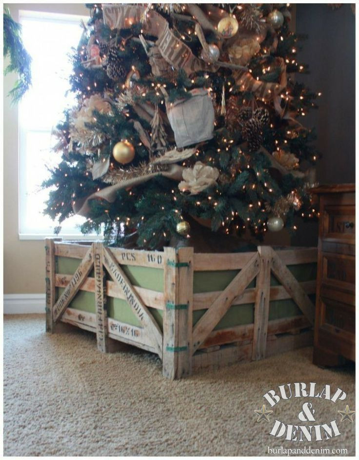 Pet Gate For Christmas Tree  Make this rustic crate barrier to keep pets and kids away