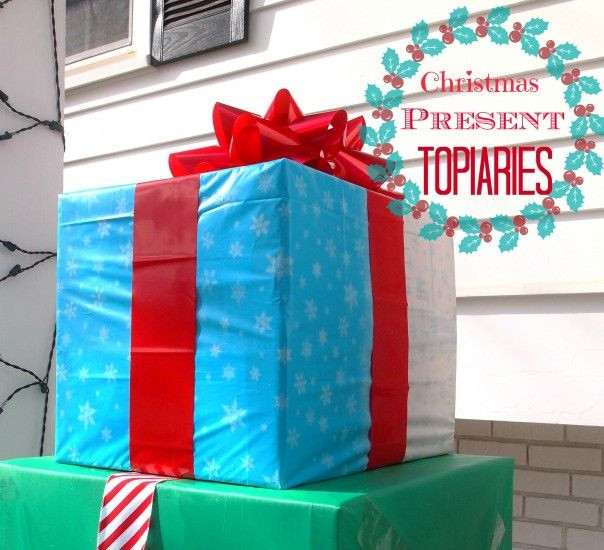 Plastic Outdoor Christmas Decorations Clearance  How To Make An Outdoor Christmas Present Topiary