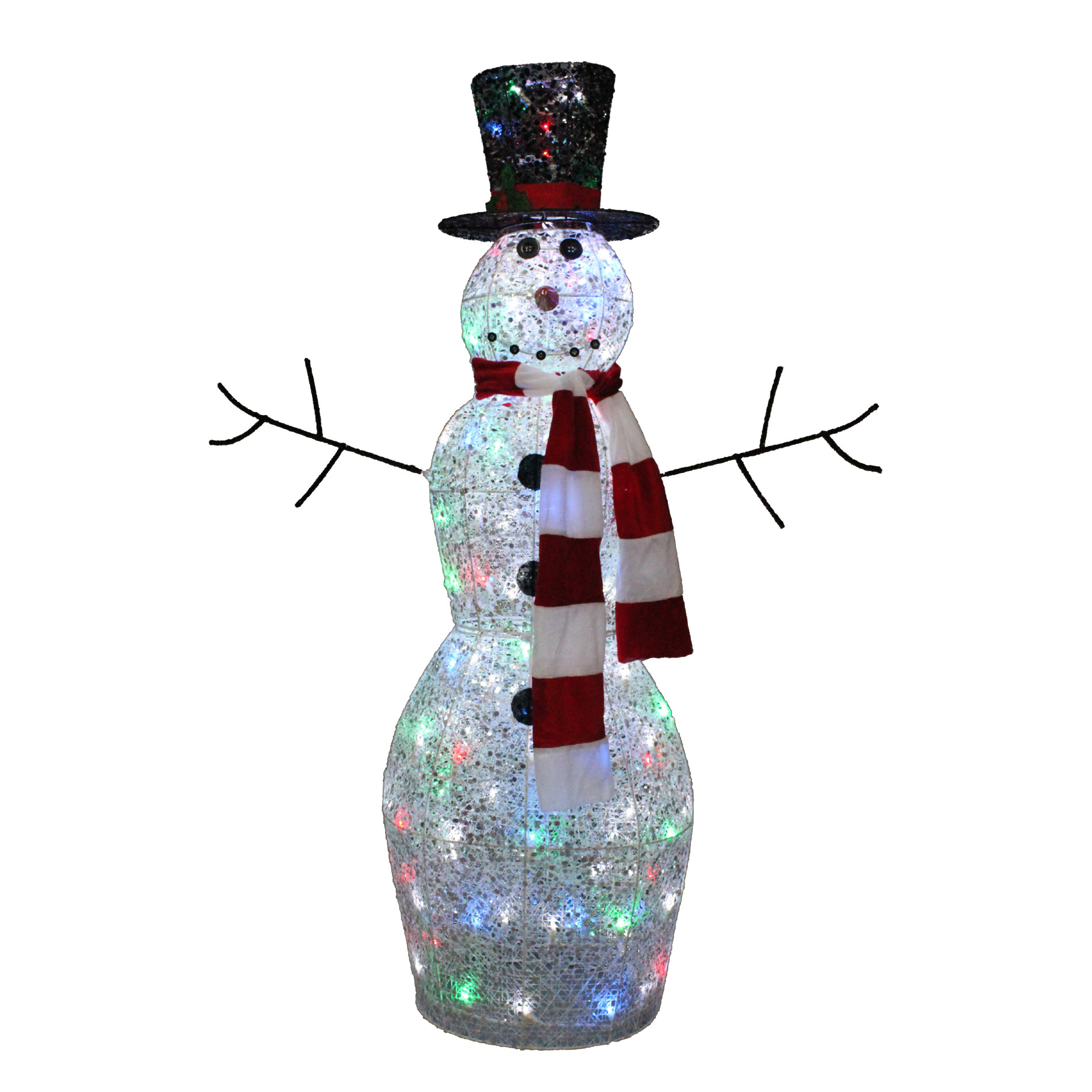 Plastic Outdoor Christmas Decorations Clearance  Trimming Traditions 48in Twinkling Snowman with 100 LED