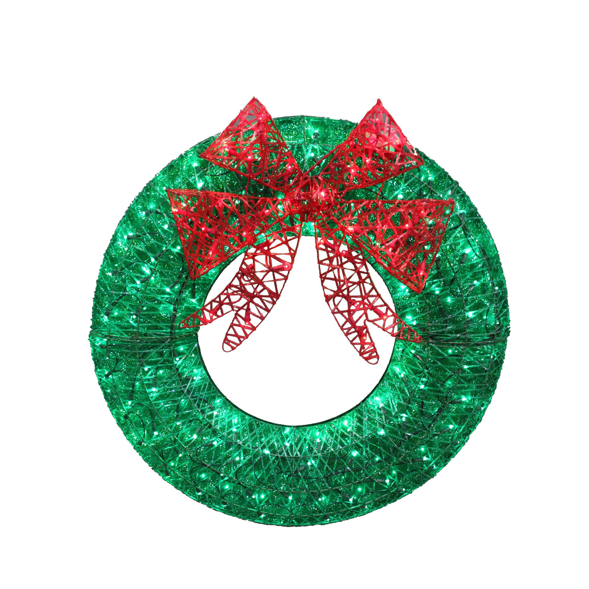 "Plastic Outdoor Christmas Decorations Clearance  Trim A Home 140 LED Lights White Wreath 36"" Seasonal"