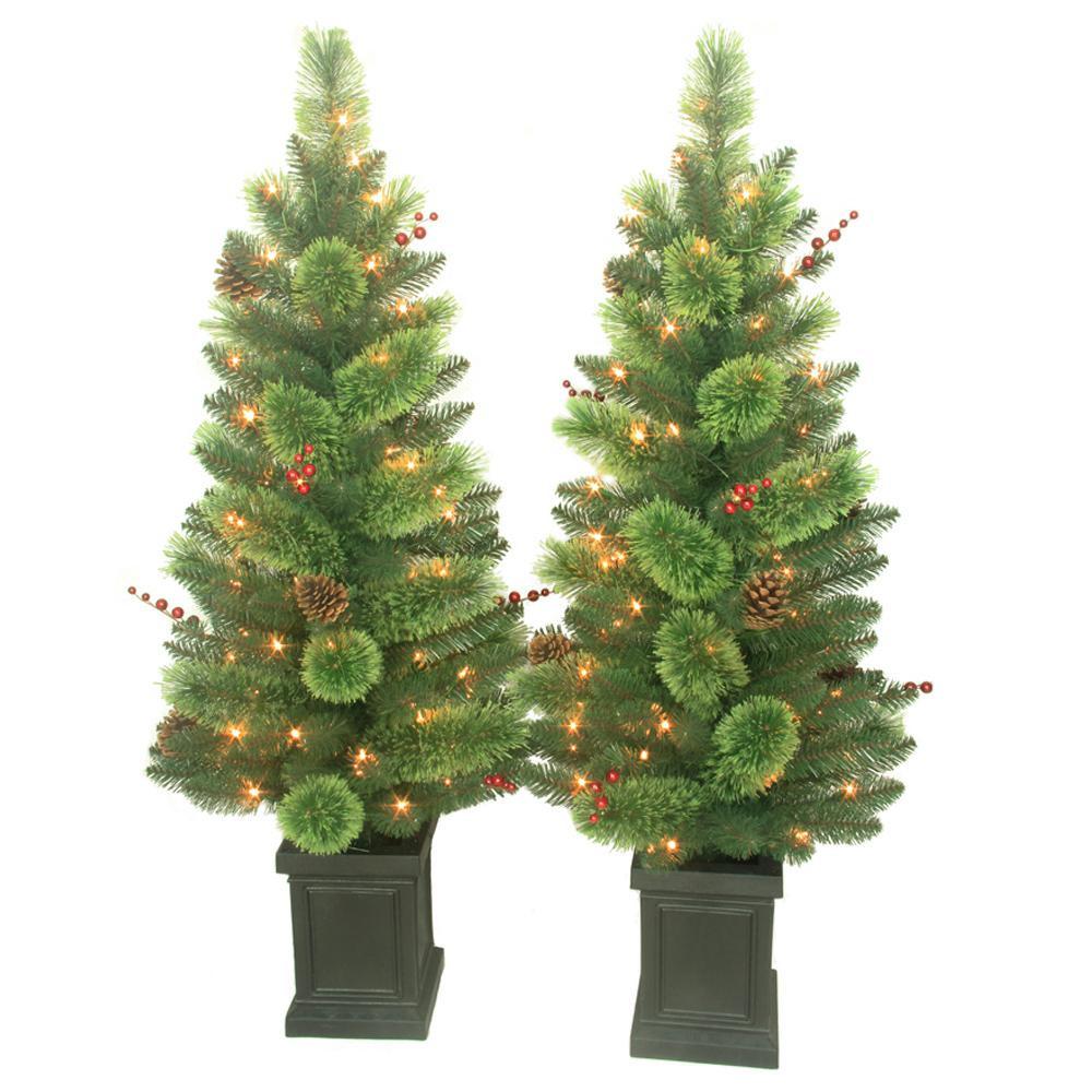 Pre Lit Porch Christmas Trees  4 ft Pre Lit Artificial Christmas Savannah Berry Porch