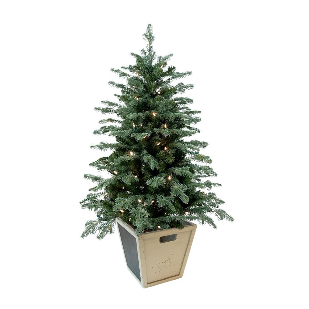 Pre Lit Porch Christmas Trees  Home Accents Holiday 4 ft Pre Lit Balsam Artificial
