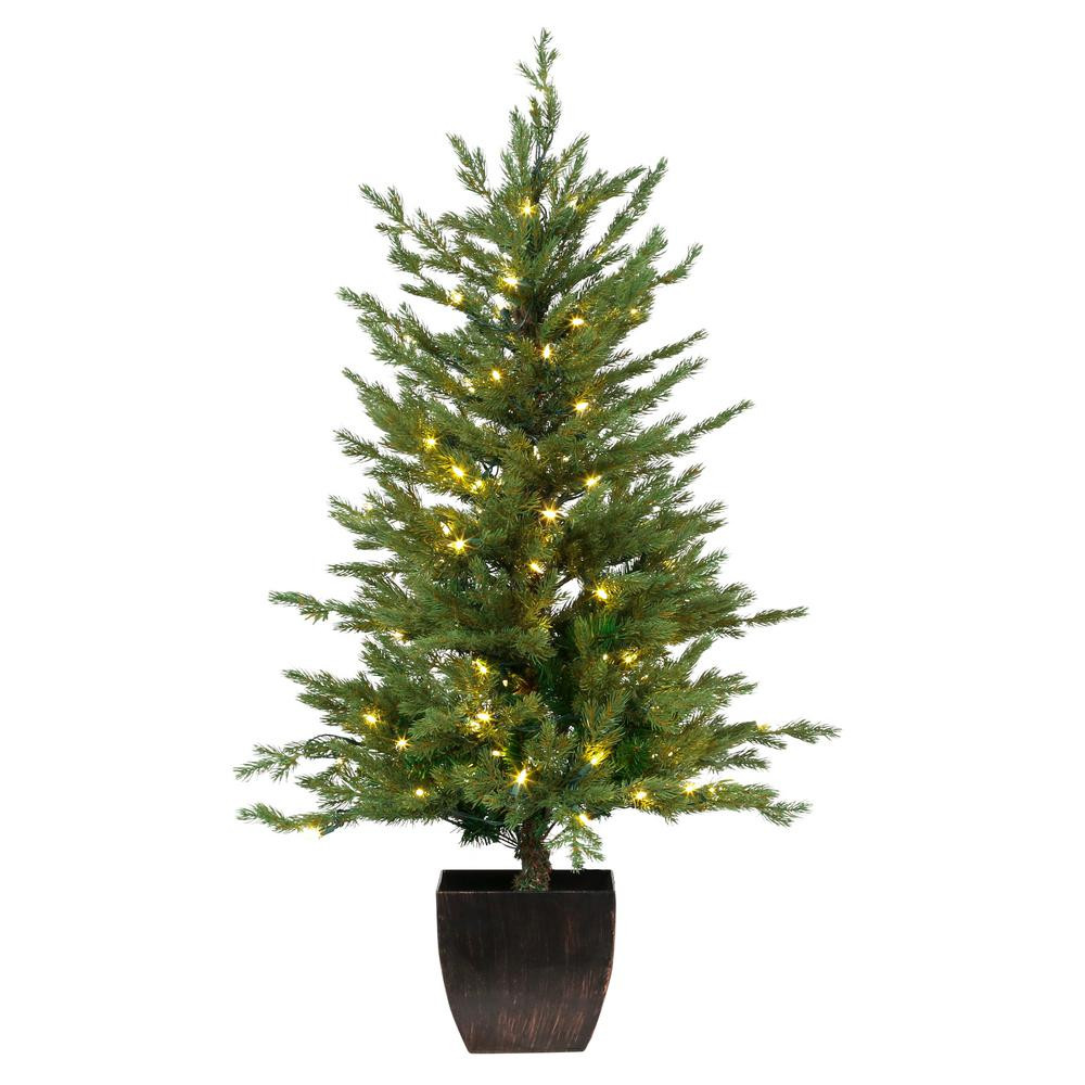 Pre Lit Porch Christmas Trees  Home Accents Holiday 4 ft Pre Lit Warm White LED Potted
