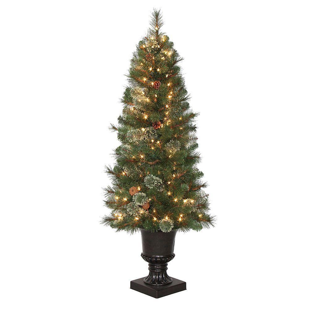 Pre Lit Porch Christmas Trees  4 5 ft Pre Lit LED Alexander Pine Artificial Christmas