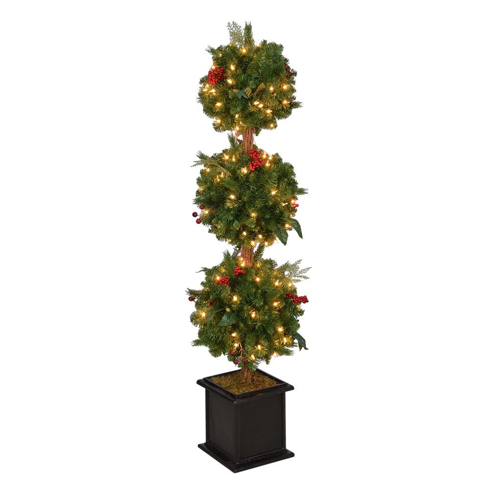 Pre Lit Porch Christmas Trees  Home Accents Holiday 4 ft Pre Lit Winslow Fir Artificial