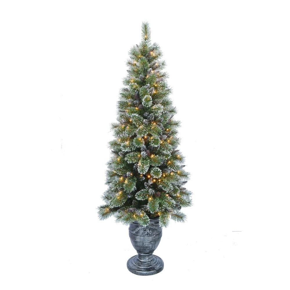Pre Lit Porch Christmas Trees  Home Accents Holiday 6 5 ft Indoor Pre Lit Sparkling Pine