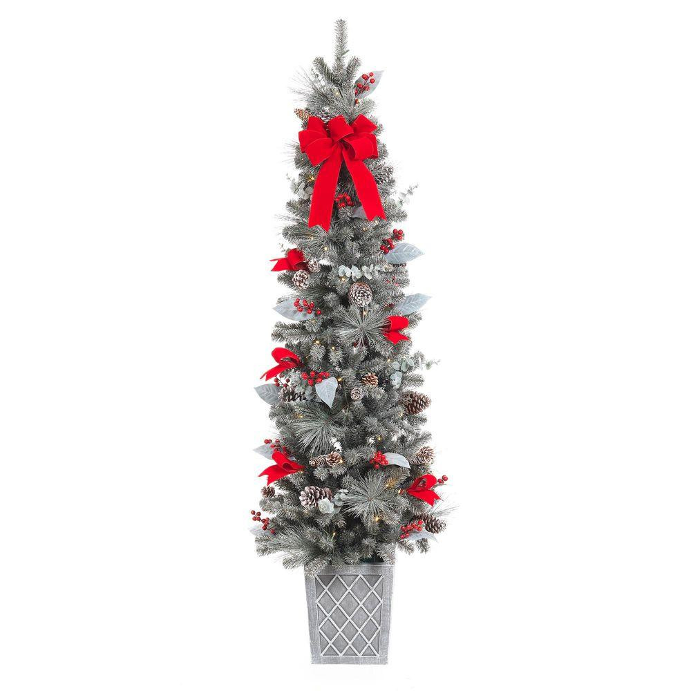 Pre Lit Porch Christmas Trees  Home Accents Holiday 75 in Pre Lit Snowy Pine Porch