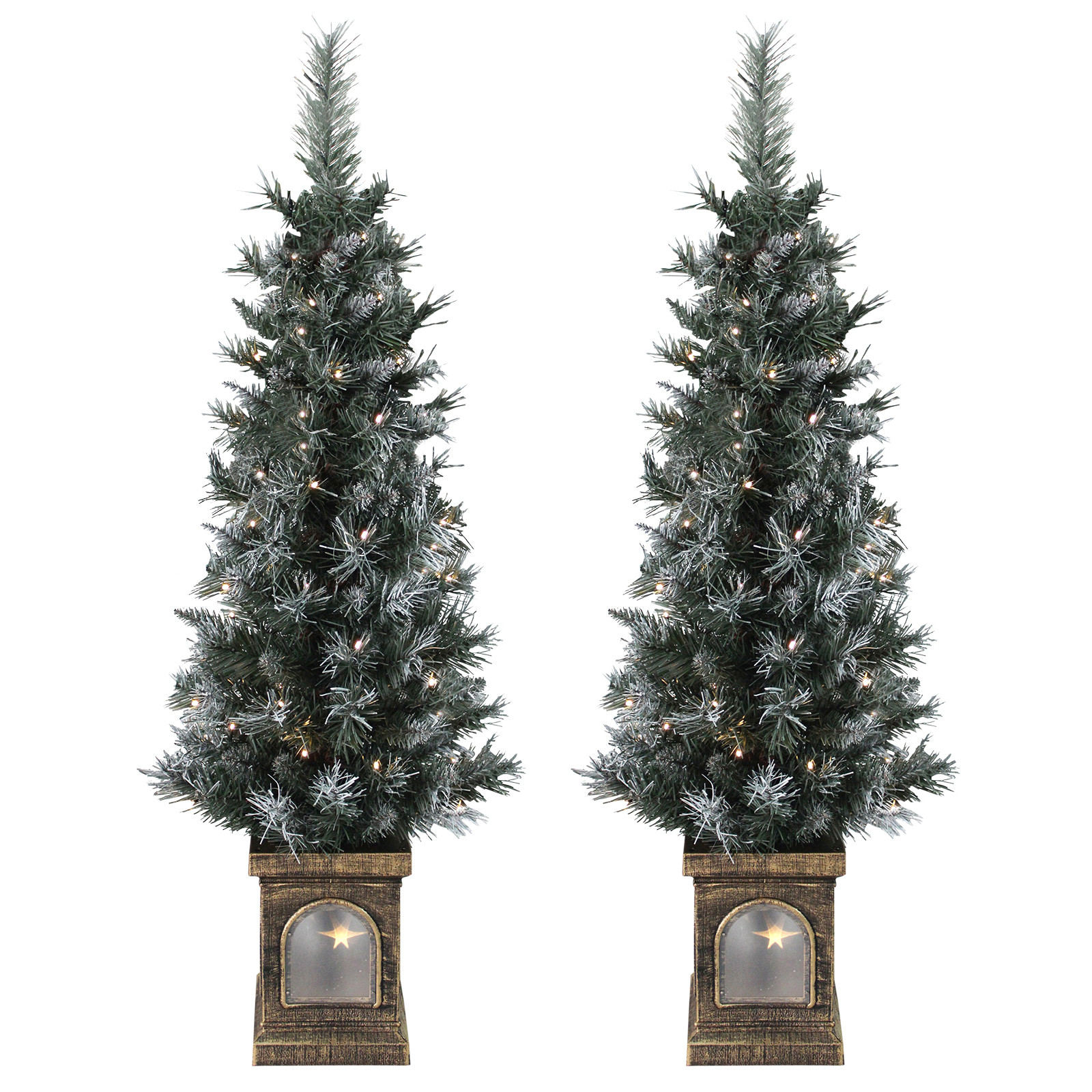Pre Lit Porch Christmas Trees  Set 2 Pre Lit 4ft 120cm Frosted Christmas Xmas