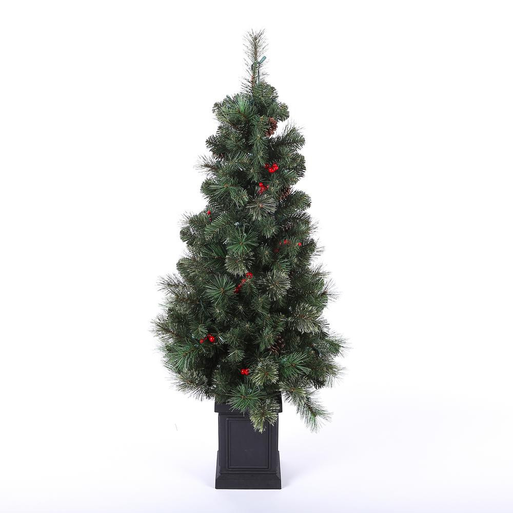 Pre Lit Porch Christmas Trees  Winsome House 4 ft Pre Lit Cashmere Mixed Porch Christmas