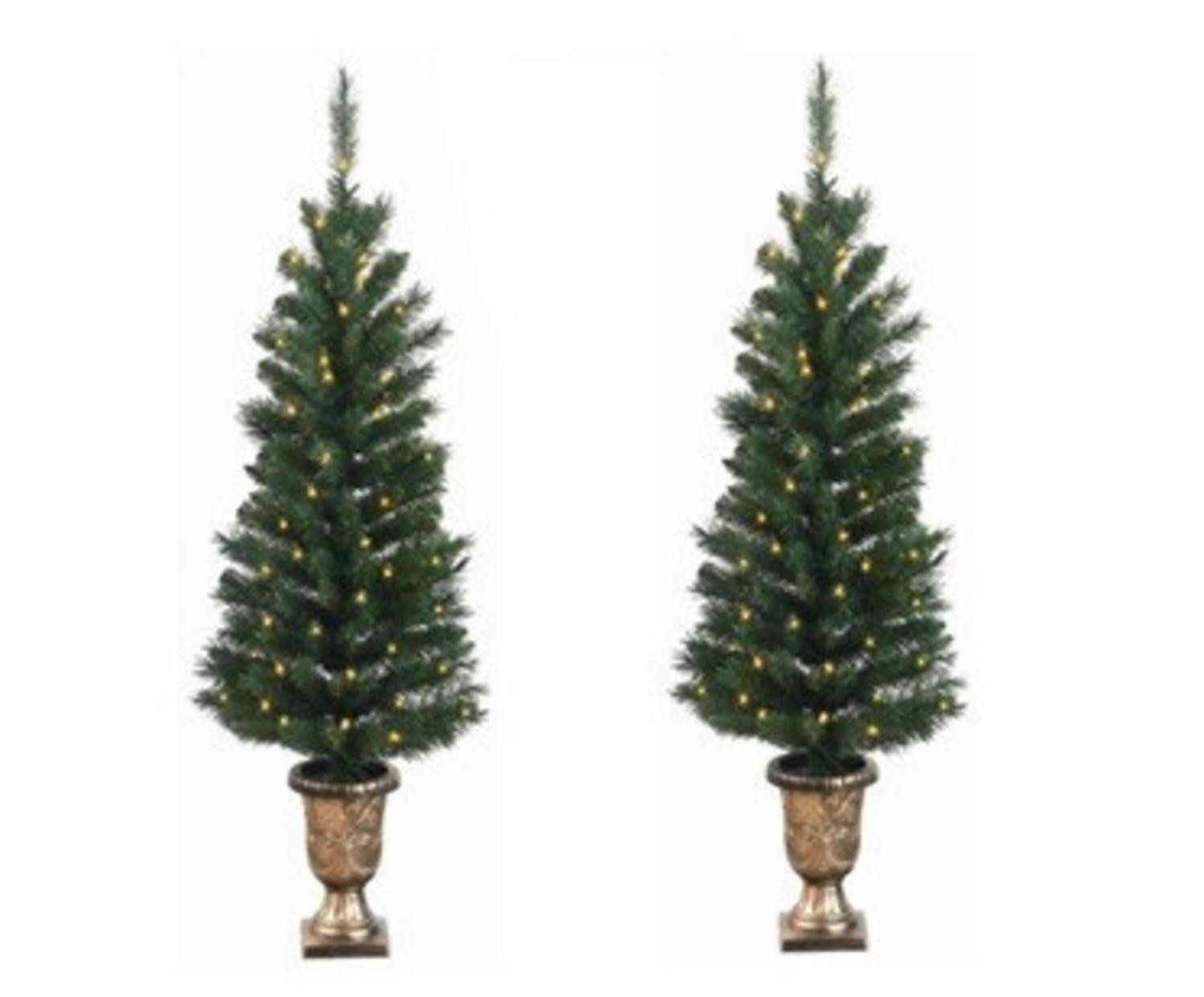 Pre Lit Porch Christmas Trees  Pack of 2 Pre Lit Potted Porch Pine Artifical Christmas