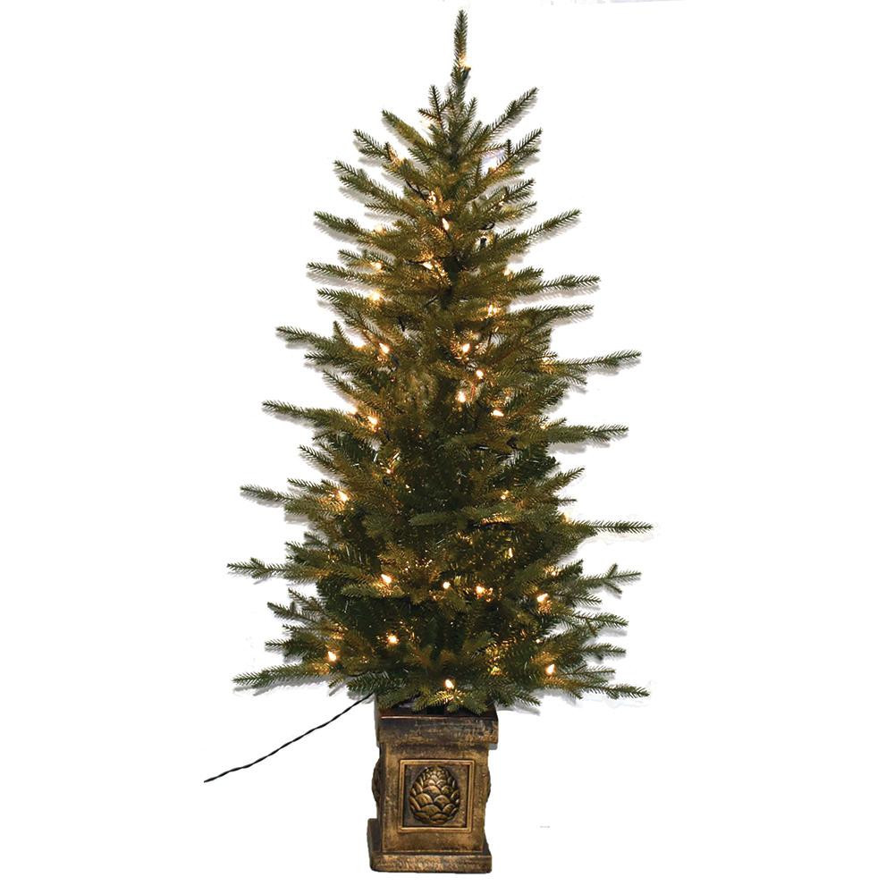 Pre Lit Porch Christmas Trees  4 5 ft Pre Lit Balsam PE Potted Artificial Christmas Tree