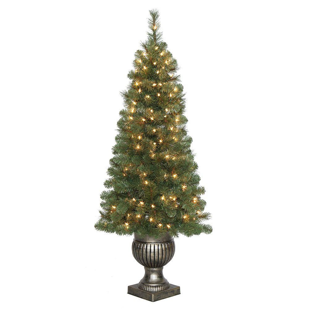 Pre Lit Porch Christmas Trees  Home Accents Holiday 4 5 ft Pre Lit LED Wesley Spruce