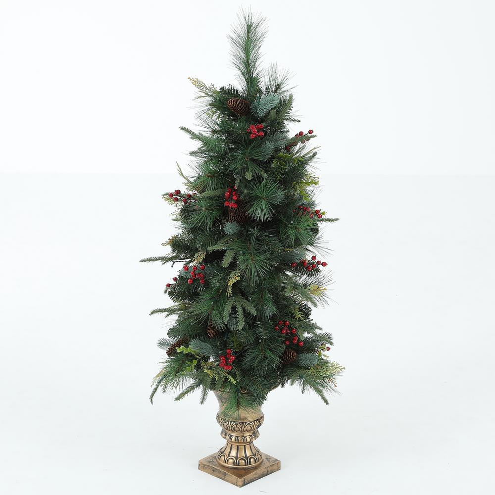 Pre Lit Porch Christmas Trees  Winsome House 4 ft Pre Lit Porch Christmas Tree with