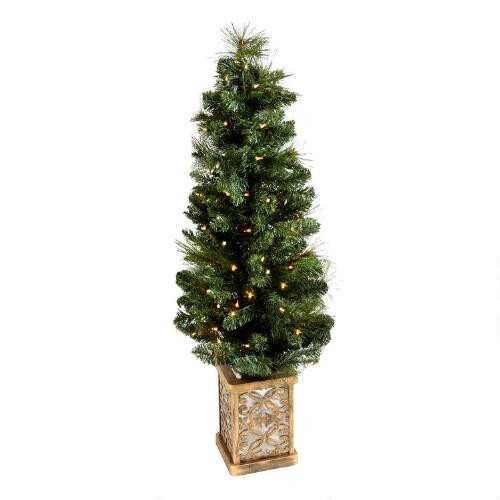Pre Lit Porch Christmas Trees  4' Pre Lit Artificial Porch Christmas Tree with Stand