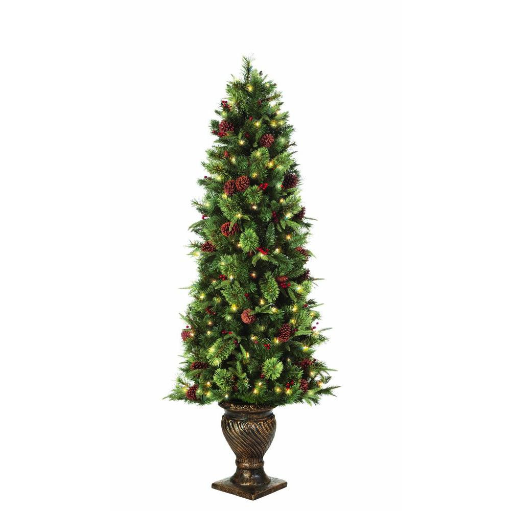 Pre Lit Porch Christmas Trees  Home Accents Holiday 6 5 ft Pre Lit Potted Artificial