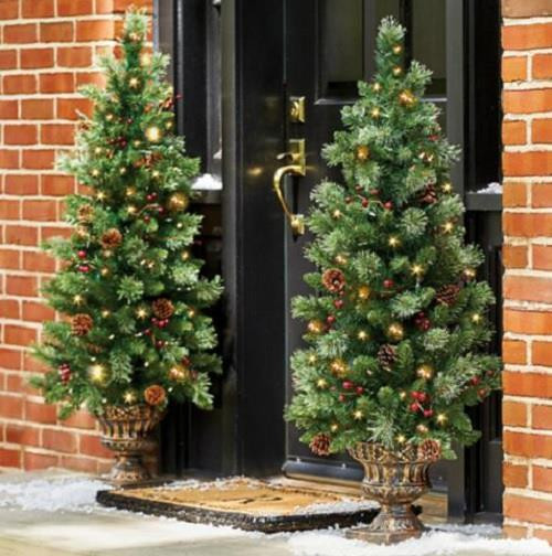 Pre Lit Porch Christmas Trees  4 Lighted Pre Lit CORDLESS Christmas Porch Tree Topiary