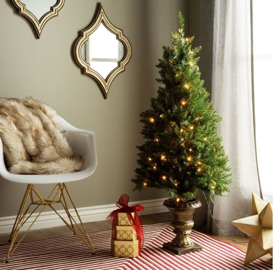 Pre Lit Porch Christmas Trees  4Ft Christmas Tree Pre Lit Artificial Porch Entryway