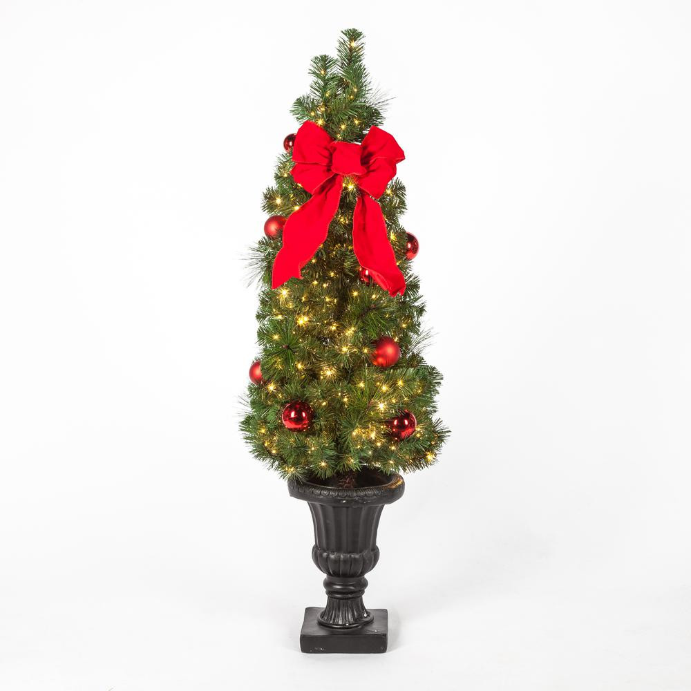 Pre Lit Porch Christmas Trees  Christmas Tree Porch Pre Lit LED Potted Artificial Mixed
