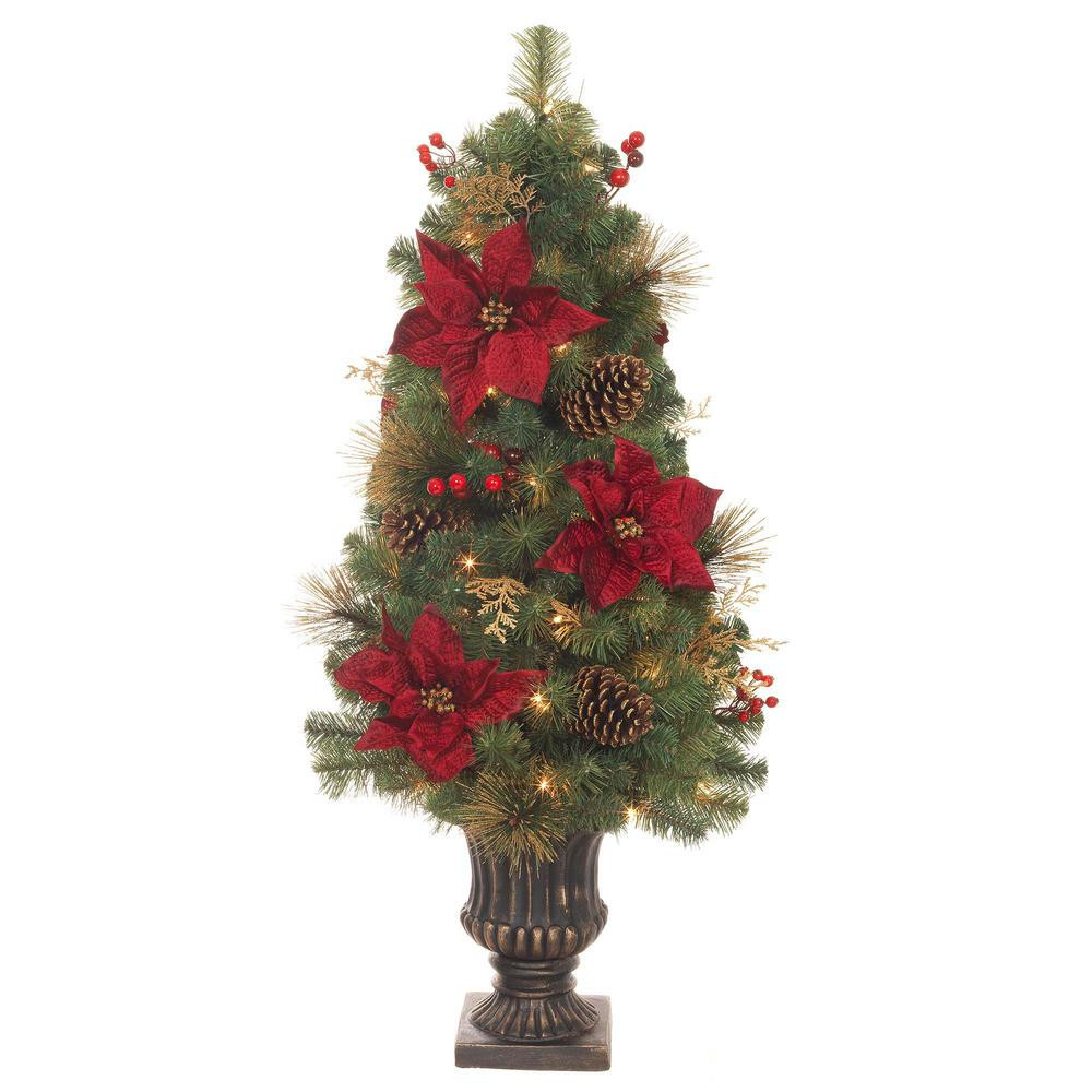 Pre Lit Porch Christmas Trees  Home Accents Holiday 4 ft Pre Lit Incandescent Gold