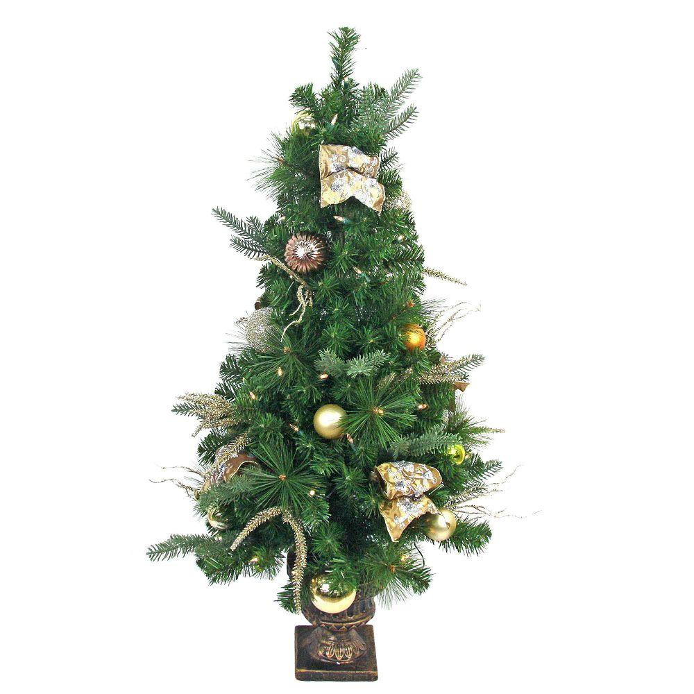 Pre Lit Porch Christmas Trees  Home Accents Holiday 4 ft Pre lit LED Manhattan