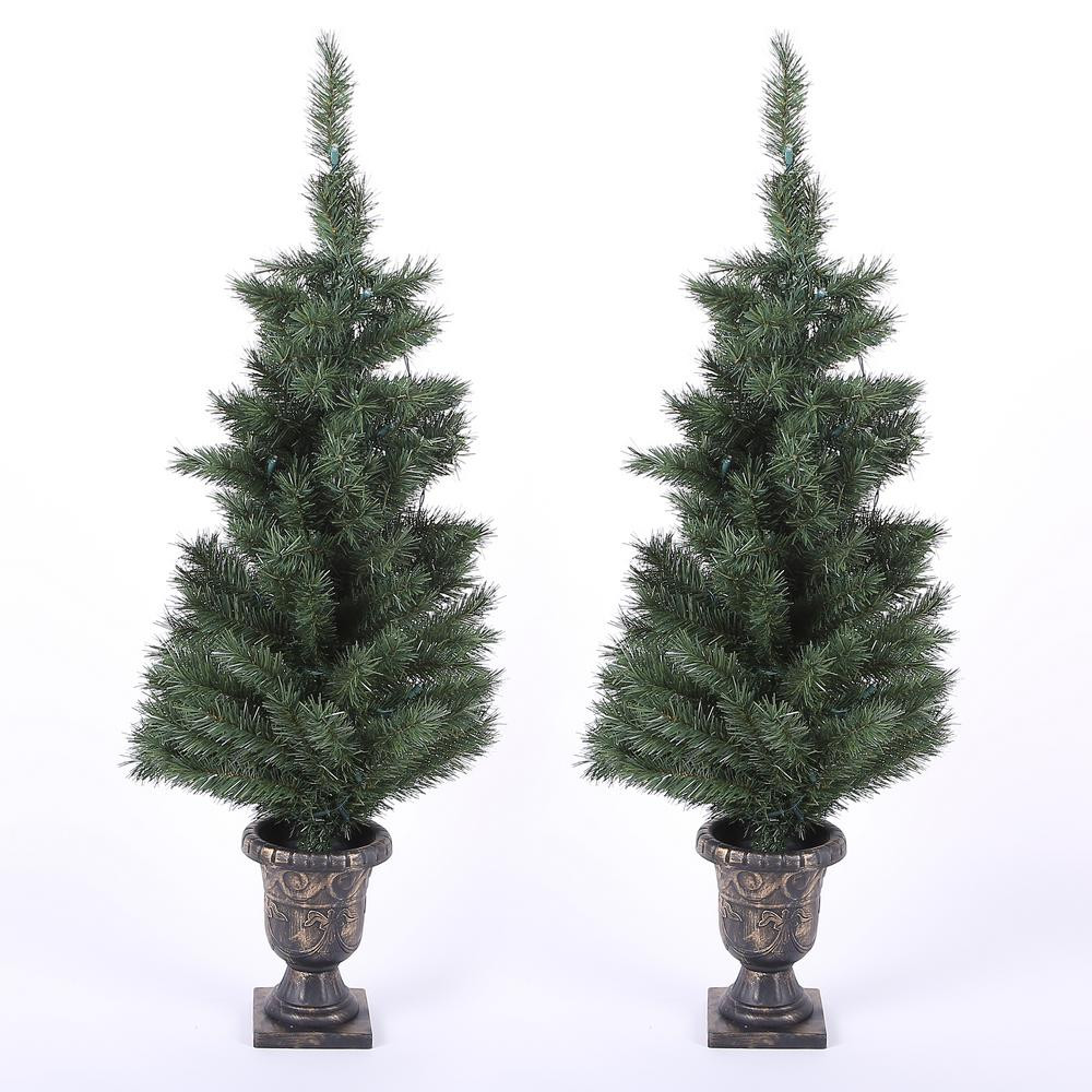 Pre Lit Porch Christmas Trees  Winsome House 4 ft Pre Lit Porch Christmas Trees with LED