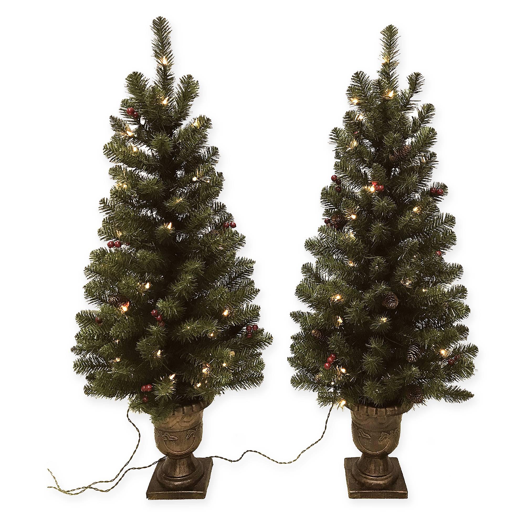 Pre Lit Porch Christmas Trees  Pine Pre Lit 4 Foot Porch Artificial Christmas Trees Set