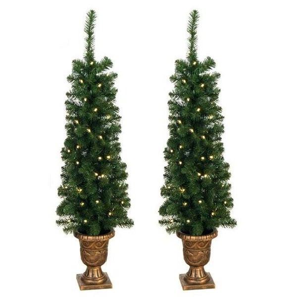 Pre Lit Porch Christmas Trees  Shop Prelit 4 foot Entryway Porch Tree Set of 2 Free