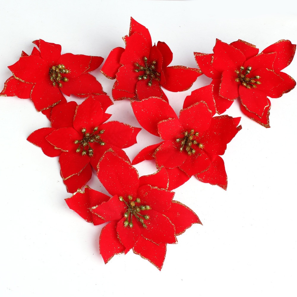 Red Christmas Flower  Christmas Flowers With Flocking Christmas Tree Decoration