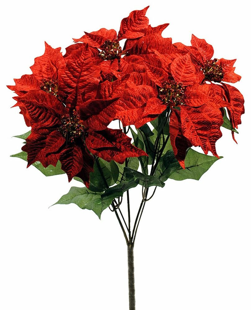 Red Christmas Flower  Artificial Red Velvet Poinsettia Flower Plant Christmas