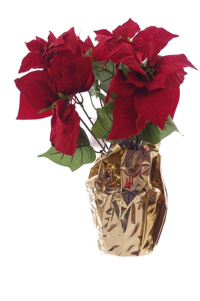 Red Christmas Flower  Red Poinsettia Christmas Holiday Floral Artificial Flower