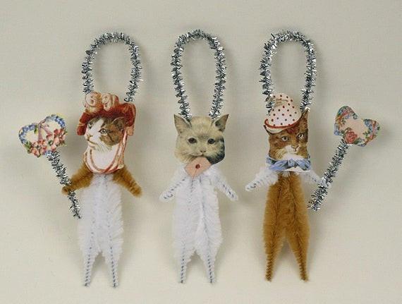 Shabby Chic Christmas Ornaments  Romantic Chenille Cat Ornaments Shabby Chic Christmas