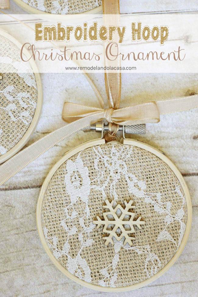 Shabby Chic Christmas Ornaments  Embroidery Hoop Christmas Ornaments Remodelando la Casa