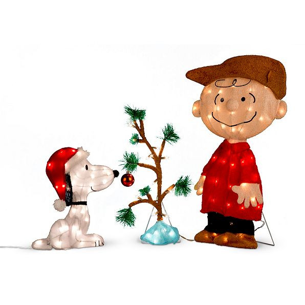 Snoopy Outdoor Christmas Decorations Beautiful Charlie Brown Snoopy Lonely Christmas Tree Led 3 Pc Yard