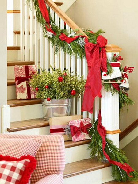 Staircase Christmas Decorations  Christmas Decorating Ideas Fun Ways to Decorate Stairs